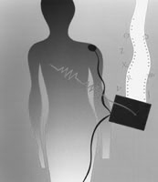 Conference artwork depicting a human figure undergoing bioelectric impedance measurements.