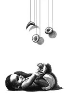 Confernce artwork depicting an African-American infant lying underneath a crib mobile with normal and sickled blood cells dangling.