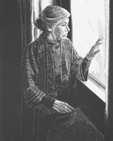 Conference artwork, an older woman pensively looking out of a window.