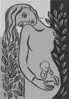Conference artwork depicting a woman craddling an infant.