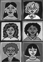Conference artwork depicting faces of six women of varying age and ethnicity.