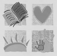 Conference artwork depicting a book, a heart, a sun and a palm print in a school project motif.