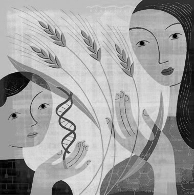 Artwork for conference showing woman, child, DNA double helix and wheat.